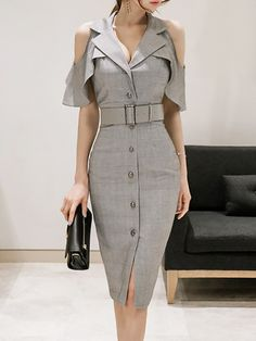 Cold shoulder buttoned sheath midi dress stylewe com Classy Outfits, Chic Outfits, Work Outfits, Fashion Clothes, Fashion Dresses, Fashion Boots, Short Dresses, Dresses For Work, Maxi Dresses