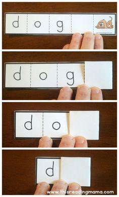 Free printable short vowel foldable strips