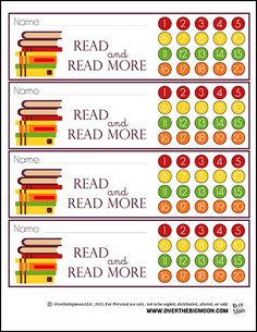 Printable Reading Bookmarks with Punchcard Option! Great way to help motivate your kids to read nightly, with a reward at the end of the month! From www.overthebigmoon.com!