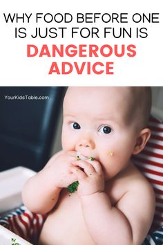 Food before one is just for fun is popular advice for parents before their baby's first birthday, but sometimes following that advice can... #feedingadvice #tablefoods #baby #toddler Child Development Activities, Development Milestones, Baby Milestones, Infant Activities, Baby Eating, Baby Led Weaning, Baby First Birthday, Healthy Meals For Kids, Just For Fun