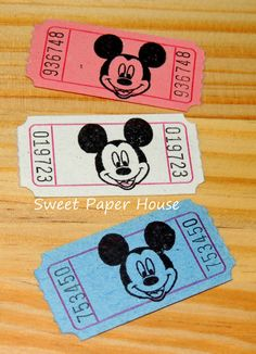 60 Mickey Mouse Carnival Tickets Disney Circus by SweetPaperHouse