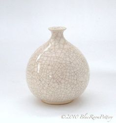 Modern Minimalist Wheel Thrown Ceramic Winter White Round Bottle Dried Flower Bud Vase Home Decor on Etsy, $34.00