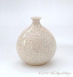 Modern Minimalist Wheel Thrown Ceramic Winter White Round Bottle Dried Flower Bud Vase Home Decor on Etsy, $34.00