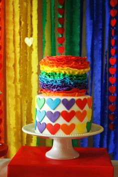 Such a darling Rainbow Cake from this Rainbow themed birthday party via KarasPartyIdeas.com #rainbow #rainbowparty #rainbowcake #partyplanning #partyideas #eventstyling #partystyling #partyideas #cake
