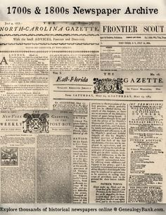 Hundreds of 1700s & 1800s Historical Newspapers Just Added to GenealogyBank! See the list: http://blog.genealogybank.com/list-of-450-historical-newspapers-just-added-to-genealogybank.html?utm_source=social&utm_medium=pinterest&utm_campaign=SM_1505_18&s_referrer=social&s_siteloc=pinterest&s_trackval=SM_1505_18&kbid=69919