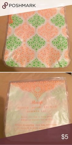 👛Just In 🆕 Maaji  Waterproof Bag REDUCE REUSE RECYCLE pretty Majjai Summer Bag, great place for cosmetics and or keep your bikini wet or dry -top has clasp for locking -reusable bag. I have sold 3 of these everyone loved them Maaji Bags Cosmetic Bags & Cases