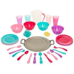 Perfectly Cute Set The Table Dinnerware Play Kitchen Accessory 34 Pc Set : Target Play Kitchen Accessories, Doll Accessories, Pretend Food, Play Food, Baby Girl Toys, Toys For Girls, Baby Dolls, Small American Kitchens, Our Generation Dolls