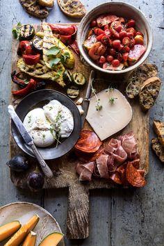 Marinated Tomato and Grilled Veggie Cheese Board | halfbakedharvest.com #cheeseboard #summerrecipes #easy #4thofjulyrecipe via @hbharvest