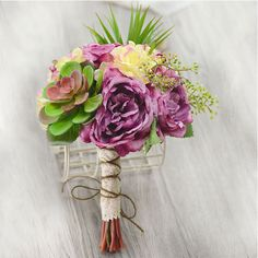 Artificial Silk Simulation Flower Succulents Nostalgic Tea Rose Bridal Bouquets Holding Flowers Wedding Flowers