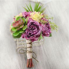 Artificial Silk Simulation Flower Succulents Nostalgic Tea Rose Bridal Bouquets Holding Flowers Wedding Flowers