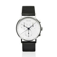 Georg Jensen Koppel 317 Quartz Chronograph Watch with White Dial and Black Strap Fine Watches, Cool Watches, Watches For Men, Men's Watches, Wrist Watches, Jewelry Watches, Stylish Watches, Luxury Watches, Modern Watches