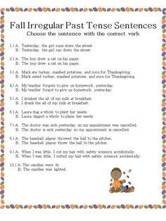 Fall Irregular Past Tense Verb sentences  - pinned by @PediaStaff – Please Visit ht.ly/63sNtfor all our pediatric therapy pins