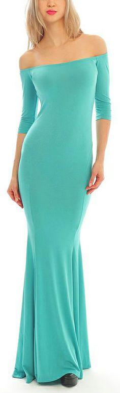 Mint Off The Shoulder Maxi Dress