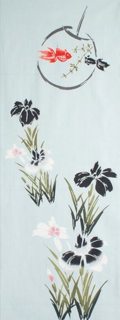 Etsy の Japanese Tenugui Fabric Iris Flower & by JapanLovelyCrafts