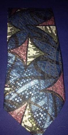 Wembley Retro 1980s Blue Purple Silver Made In USA Necktie Geometric #Wembley #Tie