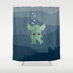 Cthulhu Shower Curtain - Lovable Legends, mythical creature, octopus, demon, tentacles, legend, sea, ocean, water, seaweed, squid, cute, baby cthulu, art, design, vector, illustration