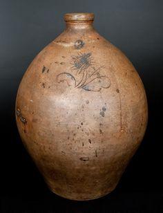 Unusual Three-Gallon Ohio Stoneware Jug with Incised Sunflower Decoration -- July 19, 2014 Stoneware Auction by Crocker Farm, Inc.