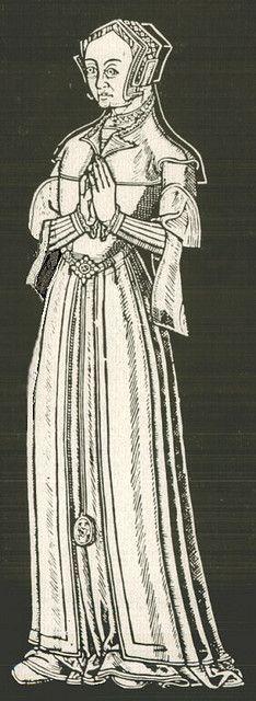before 1554, English provincial dress - hood, partlet, belt w/pomander or purse