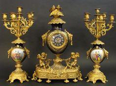 19th C. Cobalt Blue Sevres Style Clock Set