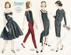 1950s  Vogue Couturier 133 Vintage Sewing Pattern Glamour Magazine Selected Fashions Evening Dress, Sheath, Blouse, Jacket, Skirt ,Slim Slac...