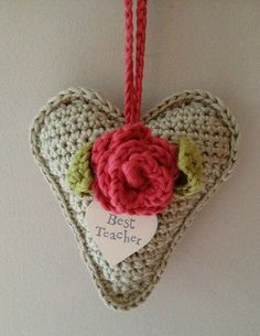 Crochet Rose Heart + Free Pattern