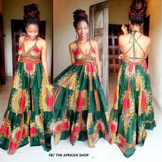Dashiki Backless Maxi Dress by THEAFRICANSHOP on Etsy, £70.00