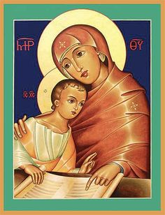 This original icon, written by Rev. Jack Shrum, presents an image of Mary as mother and teacher. She is pictured seated at table instructing her son in the Scriptures, handing on the faith of their ancestors, a symbol for what happens each day in the Church at the celebration of the Eucharist. Rev. Jack Shrum, a native of Billings, Montana, has lived in the Seattle area since 1988. He studied theology for seven years at Mount Angel Seminary, where he also had the opportunity to study…