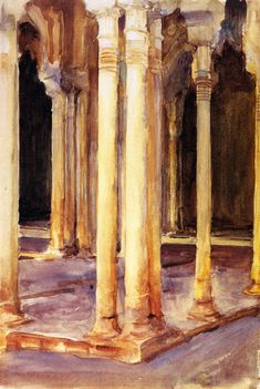 The Athenaeum - Alhambra, Patio de los Leones (John Singer Sargent - )