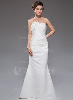 Trumpet/Mermaid Sweetheart Floor-Length Ruffle Beading Flower(s) Zipper Up Covered Button Strapless Sleeveless Hall General Plus No Spring Summer Fall Ivory Satin Wedding Dress Affordable Wedding Dresses, Cheap Wedding Dress, Wedding Party Dresses, Wedding Attire, Bridal Dresses, Robes Quinceanera, Tea Length Bridesmaid Dresses, Wedding Dress Necklines, Ruffle Beading