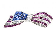 Estate Oscar Heyman Gemstone American Flag Pin