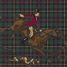 Tally-Ho wallpaper in Black from the Repertoire Collection by Thibaut    #novelty #wallpaper #mancave #masculine #hunt #jockey #horse #race #derby #plaid #brown #polo #green #library #den #study #black
