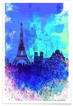 Paris Watercolor Skyline VON Naxart now on JUNIQE!