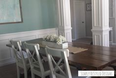 DIY Farmhouse Table and Bench paired with 3 white Ikea Ingolf Chairs www.simplyrestyleddesigns.com