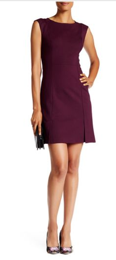 Rebecca Taylor Sleeveless Ref Ponte Dress in Oxblood-- discounted via Hautelook
