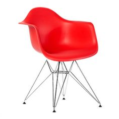 Red Eames inspired DAR chair from Funky Furniture Hire. This contemporary chair…
