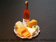 1/12 Scale - Cheese and Wine on tray - Dollhouse miniature food by CANDI MARTÍN