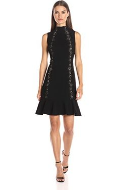 Rebecca Taylor Women's Sleeveless Crepe Lace Dress, Black, 2 ❤ Rebecca Taylor Women's