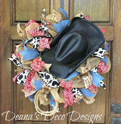 Cowboy Western Rodeo Deco Mesh Wreath by DeanasDecoDesigns on Etsy