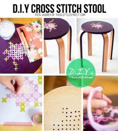 Idea #faidate per #modificare uno #sgabello in modo semplice e originale decor, crafti, diy creat, crossstitch, stitch stool, diy cross, crosses, cross stitches, stools