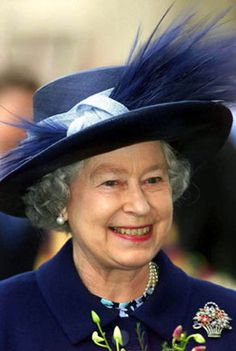 Queen Elizabeth II in a magnificent hat.