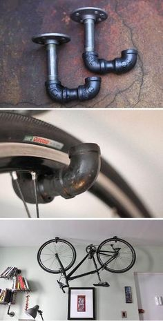 Creative Bike Storage • A round-up of the best bike storage we could find with many tutorials! Including from 'monroe trades', this ingenious bike rack using metal piping. by yobi