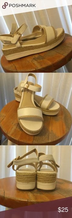 C. Label davita style platform wedge sandals NWOT! Really nice & light white/cream sandals with ankle straps. Woven natural rope detail on strap & heels makes these casual enough for jeans! Never worn just tried on C. Label Shoes Platforms