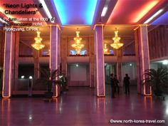 The Ryanggang Hotel lobby. Neon lights are very popular in restaurants and hotels in the DPRK. They tend to change colour too and are usually accompanied by soothing background music.