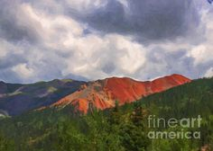 An image of Red Mountain from Red Mountain Summit is transformed digitally into a painting for effect. This was captured in August, everything was green and lush, the mountain colors ablaze in the Colorado sun.