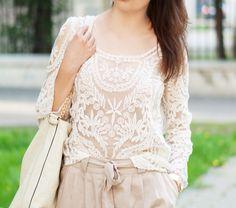 White Long Sleeve Crochet Embroidery T-Shirt