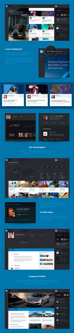 LinkedIn Redesign by Avenue. Branding by Zero Agency http://avenuestud.io/work/linkedin-redesign-concept/ http://www.webdesignernews.com/external/linkedin-redesigned-a-concept-on-how-we-might-undertake-business-in-the-future