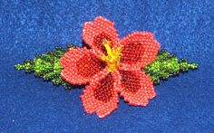 "A beautiful floral barrette with multiple layers of beadwork.  3-d and realistic looking!  Measures 4"" end to end. Beadwork is sewn to a leather backing and has a french clip closure.  $19.95 FREE SHIPPING  See more colors and styles of beaded barrettes in our ebay store!  #barrette #beaded #hairaccessory"