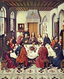 Ultima Cena -  pannello centrale del polittico conservato nella cattedrale S. Pieter di Lovaniotra - 1464-1467