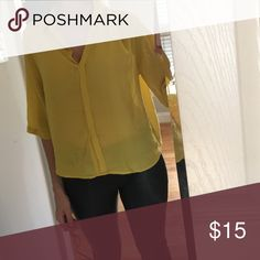 3/4 Sleeve Blouse 3/4 Sleeve yellow blouse. Tags removed, but never worn. From my trip to France! Mango Tops Blouses
