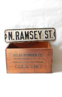 Vintage Street Sign N Ramsey St Black White Old Street Sign Vintage 1950s Embossed Steel Street Sign Industrial Loft Decor Hipster Decor by LeasAtticSpace on Etsy